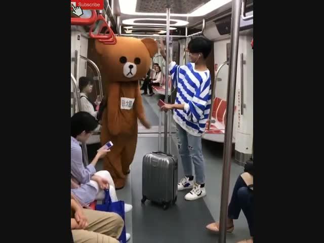 Gấu lầy tán gái trên xe bus