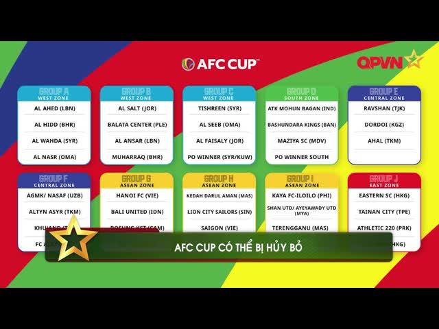 Điểm tin 20/6: AFC Cup có khả năng bị hủy bỏ