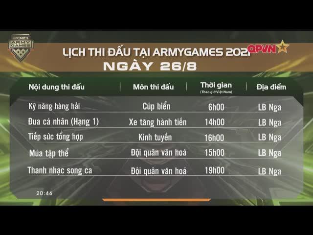Lịch thi đấu Army Games 26/8: Việt Nam quyết thắng